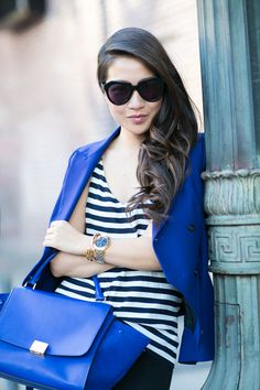 Casual :: Navy blazer & Comfy sneakers :: Outfit :: Top :: Zara blazer , J.Crew top Bottom :: Gap Shoes :: Isabel Marant Bag :: Celine Accessories :: Karen Walker sunglasses, Tory Burch watch, Brandy Pham bracelets Published: April 19, 2015