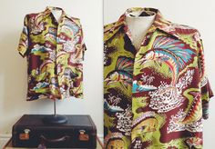 1950s Shaheen Rayon Aloha Shirt / Collector's Item Hawaiian Shirt /  Vibrant Fish Print / By Shaheen's of Honolulu / Size L