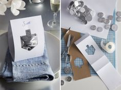 How-to: This custom gelt bag favor works perfectly as a place card.