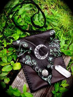 RESERVED Crescent Moon and Celtic Ivy Leather Bag by EireCrescent