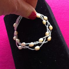 """🌞Triple-Strand Fresh Water Pearl Bracelet🌞 7 1/2"""" with magnetic clasp-NWOT Jewelry Bracelets"""