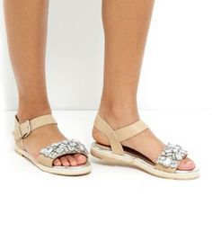 Stone Leather Embellished Espadrille Sandals