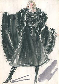 Rare Vintage: Sense and Sensibility: Joe Eula fashion illustrations for Halston