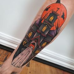 "Halloween Tattoos for People who Live to Explore the ""Scary"" - Hike n Dip Ghost Tattoo, Witch Tattoo, Cat Tattoo, Key Tattoos, Skull Tattoos, Sleeve Tattoos, Foot Tattoos, Movie Tattoos, Haunted House Tattoo"