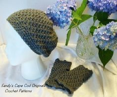 217 PDF Slouchy Hat and Fingerless Gloves Crochet Pattern one size fits most. $4.95, via Etsy.