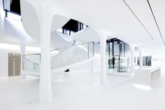 Built by Erick van Egeraat in Assen, The Netherlands with date Images by J Collingridge . Designed by Erick van Egeraat won 'best interior' at the Dutch Design Awards 2012 with the design of Drents Museu. Store Signage, Signage Display, Shades Of White, Design Museum, Design Awards, Interior Inspiration, Architecture Design, Stairs, Interior Design