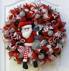 Santa Claus Christmas wreath with deco mesh by PinkBluebonnet
