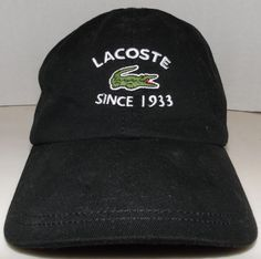 separation shoes 49517 04bf8 Lacoste Since 1933 Alligator Black Buckle Back Belt Strapback Hat Baseball  Cap  Lacoste  BaseballCap