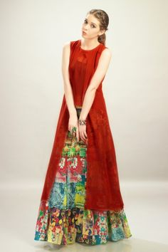 Red Chiffon Top with Multi-Color Georgette Printed Skirt