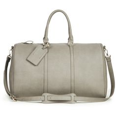 Sole Society Lacie Oversized Vegan Weekender ($85) ❤ liked on Polyvore featuring bags, luggage and grey