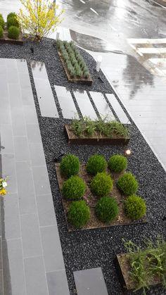 Land Design Factory / Planter Design Factory - corten planters, weathering steel, gravel, minimal