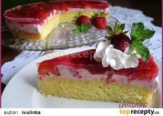 Letní koláč s jahodovým tvarohem recept - TopRecepty.cz No Sugar Diet, Diet Menu, Cheesecake, Treats, Baking, Sweet, Food, Bohemian, Sweet Like Candy
