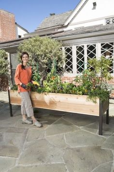 Elevated Cedar Raised Bed adds 16 square feet of growing space on your porch, patio or deck!