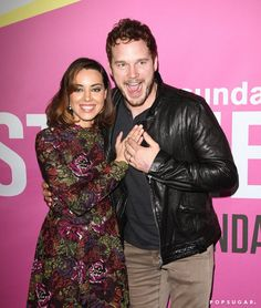 Pin for Later: The Weekend's Must-See Snaps!  Chris Pratt got silly and sweet with his Parks and Recreation costar Aubrey Plaza at the Life After Beth premiere in LA on Friday.