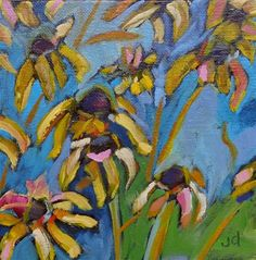 "Daily Paintworks - ""Cone flower delight"" - Original Fine Art for Sale - © Jean Delaney"