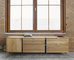 atlas industries gallery the modular furniture system home credenza with cabinet file drawers and storage drawers wood components in solid white oak