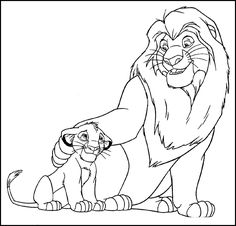 The Lion King Simba and Mufasa Talk Coloring Page mhvnfmjmhfj