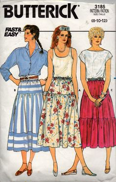 Butterick 3185 Womens EASY Tiered Skirt 80s Vintage Sewing Pattern Size 8 10 12