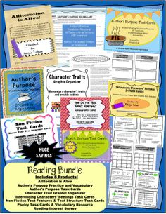 Rockin' Reading Bundle (25% SAVINGS: Activities, handouts, & 4 sets of TASK CARDS. **Alliteration is Alive, 24 Author's Purpose Task Cards & Author's Purpose Vocabulary Resource, Author's Purpose Practice & Vocabulary, Character Trait Graphic Organizer, 24 Inferencing Characters' Feelings Task Cards, 24 Non -Fiction Text Features & Text Structure Task Cards, 24 Poetic Devices/Figurative Language Task Cards & Vocabulary Resource & Reading Interest Survey #poetry #nonfiction #taskcards