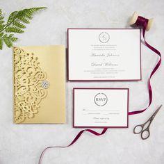glitter gold and burgundy pocket wedding cards SWWS038_4