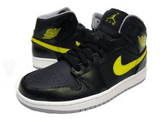 Air Jordan 1 Mid Black/Vibrant Yellow/Wolf Grey