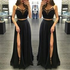 LJ25 New Arrival Long Prom Dress,Black Chiffon Prom
