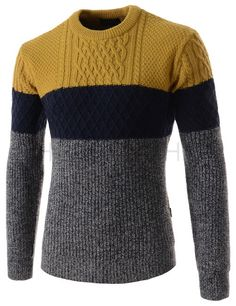 X-Future Mens Knitted Pullover Soft Winter Crewneck Colorblock Warm Long Sleeve Sweater