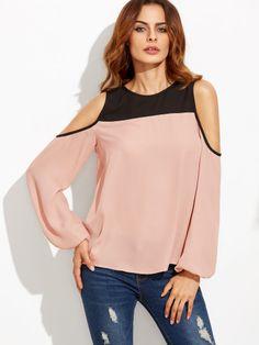 Blusa manga larga con hombros al aire color combinado-Sheinside