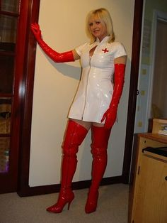 photos latex vinyl cuir - Page 124 Vinyl Clothing, Latex Suit, Latex Lady, Sexy Nurse, White Caps, Red Boots, Blond, Blue Dresses, Hot Girls