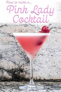 Follow our easy recipe and craft a Pink Lady cocktail at home in just five minutes. | classic cocktail | gin cocktail | pink lady cocktail | pink lady recipe | pink lady cocktail recipe | pink drink | valentines day drink | valentines day cocktail Valentine's Day Drinks, Pink Drinks, Yummy Drinks, Beverages, Classic Cocktails, Fun Cocktails, White Lady Cocktail, Cherry Syrup