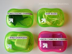 Organize Your Chargers and Cords - Joyful Homemaking Do you have to search your house, car or purse Masterplan, Sink Organizer, Cord Organization, Soap Boxes, Getting Organized, Homemaking, Dollar Stores, Planer, Usb
