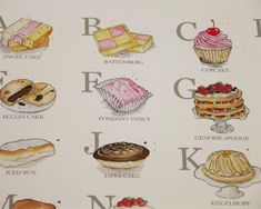 Cake Alphabet Illustrated Giclée Print Wall Art - Prints and Posters Cake Illustration, Watercolor Illustration, Eccles Cake, Iced Buns, British Cake, Jaffa Cake, Alphabet Art, Kitchen Wall Art, Love Cake