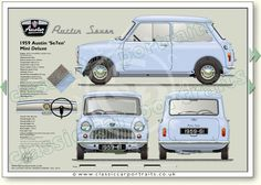 Austin Seven Mini Deluxe 1959 - 61 classic car portrait print