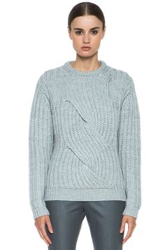 Carven|Twisted Knit Short Sweater in Grey