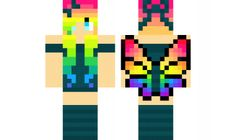 minecraft skin rainbow-butterfly-girl Find it with our new Android Minecraft Skins App: https://play.google.com/store/apps/details?id=studio.kactus.girlskins