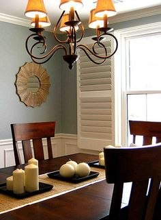 I like this color for my update on exercise room.   Dining room painted Benjamin Moore Iced Marble