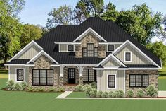 A multitude of gables draw your eyes to the lovely roof lines clad in metal that tops this beautiful Traditional house plan. Craftsman Style House Plans, Dream House Plans, House Floor Plans, Architectural Design House Plans, Architecture Design, Family Room Fireplace, Large Kitchen Island, Traditional House Plans, Traditional Decor