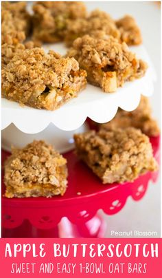 Easy one bowl apple butterscotch bars are a fun fall treat to bake with kids. Made with pecans, oats, fresh apples, and butterscotch chips, they will be a hit at your next fall gathering. Baking Recipes For Kids, Baking With Kids, Baking Ideas, Baker Recipes, Kitchen Recipes, Butterscotch Bars, Oat Bars, Crumble Topping, Best Food Ever
