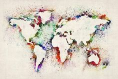 Map of the World Paint Splashes by Michael Tompsett http://www.etsy.com/shop/artPause #maps #painting