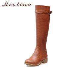 6bc8060f40e2 Meotina Winter Women Riding Boots Chunky Low Heel Motorcycle Boots Shoes  Zip Buckle Women High Boots Brown Yellow Big Size 9 10-in Knee-High Boots  from ...