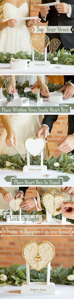 Wedding Keepsake Idea - Use a lockbox to keep your wedding vows safe and secure. Use the lockbox as a decorative display during your wedding ceremony. The bride and groom can place their vows in the lockbox during the ceremony and will have an everlasting April Wedding, Fall Wedding, Our Wedding, Dream Wedding, Wedding Country, Wedding Guest Book, Wedding Cards, Wedding Ceremony, Wedding Keepsakes