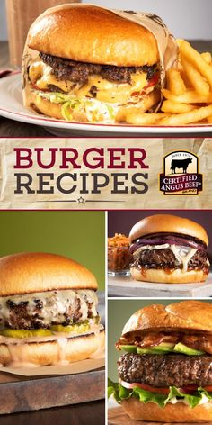 your grill on with the best burger recipes! From a classic smash burger to our cheesy 'Juicy Lucy' burger, these easy burger recipes are delicious. Serve them up on game day or for a fun week night dinner, and everyone will be asking you for seconds! Best Beef Burger Recipe, Grilled Burger Recipes, Beef Recipes, Dog Food Recipes, Cooking Recipes, Juicy Burger Recipe, Recipe For Burgers, Easy Burger Recipes, Chicken Burger Patty Recipe