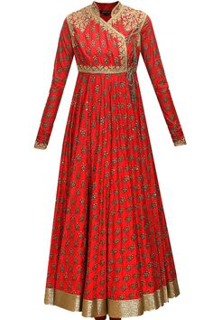 Red block printed angrakha style anarkali set by Rohit Bal. Shop now: www.perniaspopups.... #anarkali #pretty #designer #rohitbal #elegant #clothing #shopnow #perniaspopupshop #happyshopping