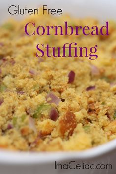 Cornbread Stuffing, Stuffing Recipes, Paleo Stuffing, Gluten Free Stuffing, Gluten Free Thanksgiving, Thanksgiving Recipes, Holiday Recipes, Gluten Free Cooking, Gluten Free Recipes