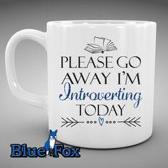 Coffee Mug Please go away I'm introverting by BlueFoxGifts on Etsy