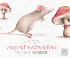 Meet Little Mouse! Hes been hand painted with watercolors and lots of love. He loves the smell of mushrooms almost as much as cheese! And he would be honored to be part of your next creative project. Hed look great on a birth announcement, childrens birthday invitation, or just a