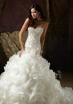 Cheap dress Buy Quality dresses formal gowns directly from China dress up wedding gowns Suppliers: QQ Lover 2017 Elegant Sweetheart Beaded Organza Chapel Mermaid Wedding Dress Wedding Gown Custom-made Vestido de noiva Dresses Chapel Wedding Dresses, Wedding Dress Organza, White Wedding Dresses, Wedding Party Dresses, Wedding Dress Styles, Bridal Dresses, Bridesmaid Dresses, Prom Dresses, Dress Party