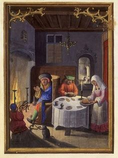 The urban medieval home, a busy thoroughfare of business and family, from the Da Costa Book of Hours , The Netherlands, To find out ab. Medieval World, Medieval Art, Medieval Manuscript, Illuminated Manuscript, European History, Art History, American History, Medieval Furniture, Medieval Paintings