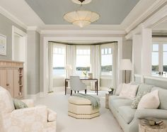 absolutely love the soft grey walls, the white woodwork, and the blue ceiling.  How calming.  Originally posted on Susie Harris' blog: http://www.susieharrisblog.com/