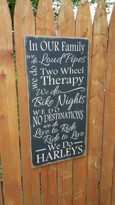 "Custom Carved Wooden Sign - ""In Our Family ... We do Harleys"" - Harley Davidson Motorcylcle by HayleesCloset on Etsy"